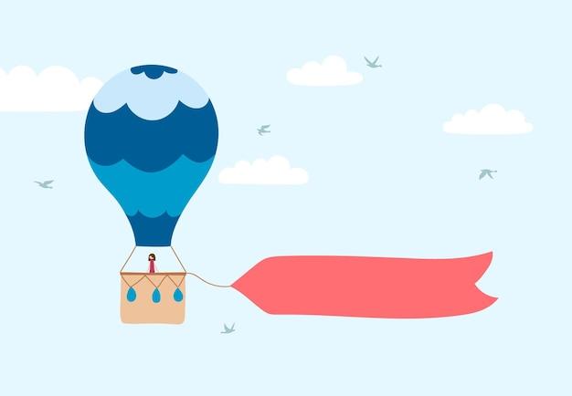 Illustration vectorielle de montgolfière contour sur ciel. icône dessinée à la main isolée