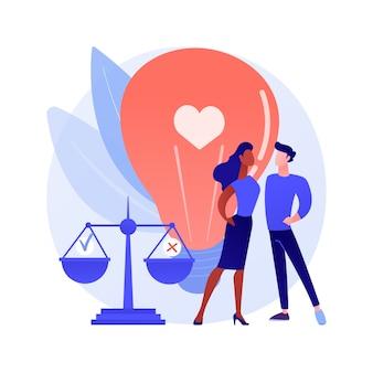 Illustration vectorielle de moralité publique concept abstrait. principes moraux, normes éthiques, travail policier, pression sociale, lieux de la vie publique, société globale, règles de respect métaphore abstraite.