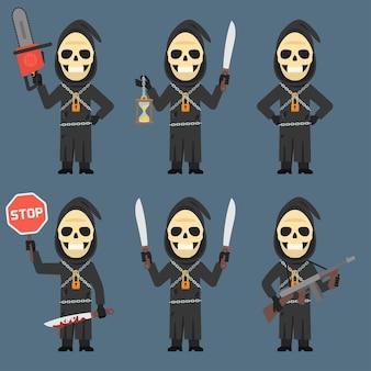 Illustration vectorielle, la mort détient la tronçonneuse d'armes de machette de sablier, format eps 10