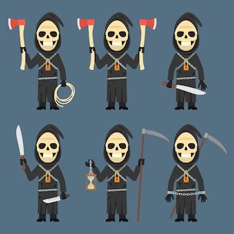 Illustration vectorielle, la mort tient le sablier de machette de hache de faux, format eps 10