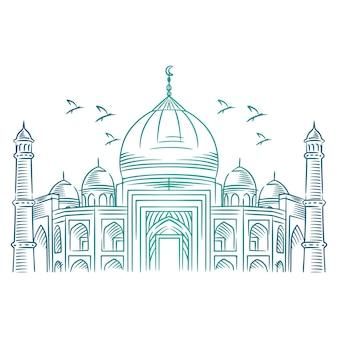 Illustration vectorielle de mosquée dessinés à la main, dessin au trait