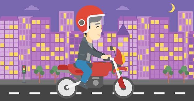 Illustration vectorielle de moto équitation homme.