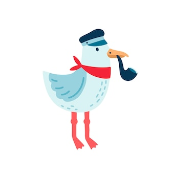 Illustration vectorielle de mouette pirate. oiseau marin drôle portant une casquette capitan et fumant une pipe à tabac en bois. personnage de dessin animé de mouette coloré isolé sur fond blanc pour l'impression de t-shirt pour enfants.