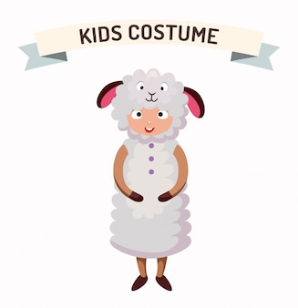 Illustration vectorielle de mouton kid costume isolé
