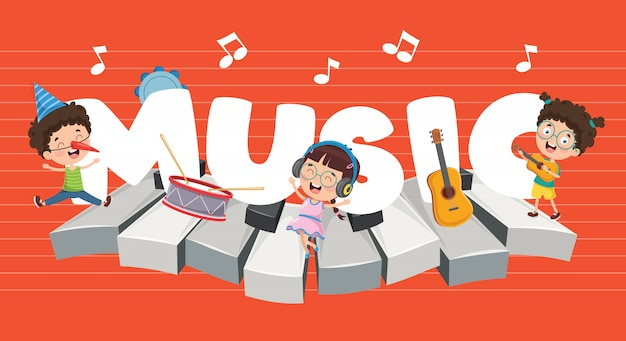 Illustration vectorielle de la musique des enfants