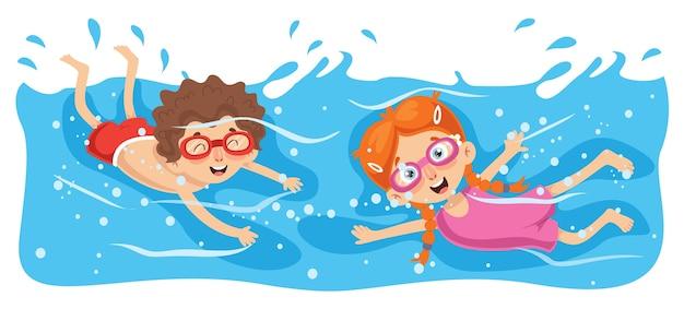 Illustration vectorielle de natation enfant