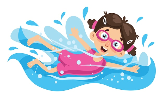 Illustration vectorielle de natation enfant