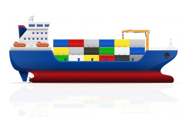 Illustration vectorielle de navire cargo nautique