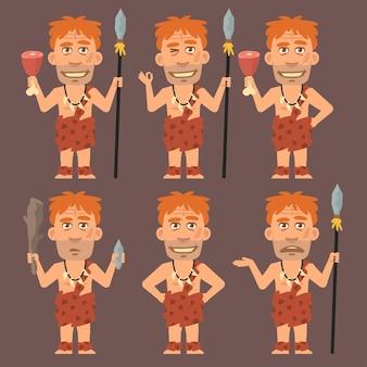 Illustration vectorielle, neandertal détient de la viande et des armes, format eps 10