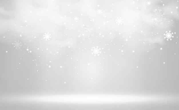 Illustration vectorielle de neige volante sur fond transparentphénomène naturel des chutes de neige