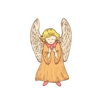 Illustration vectorielle de noël ange enfant dessiné à la main. croquis abstrait. dessin de style de gravure de vacances d'hiver. isolé.