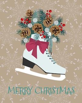 Illustration vectorielle de noël avec patins d'hiver, branches de sapin, pomme de pin et baies