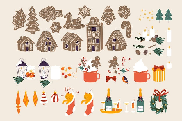 Illustration vectorielle noël sertie d'hiver saisonnier et attributs de noël traditionnels joyeuses fêtes...