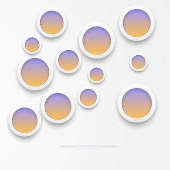 Illustration vectorielle des notes rondes en papier blanc.