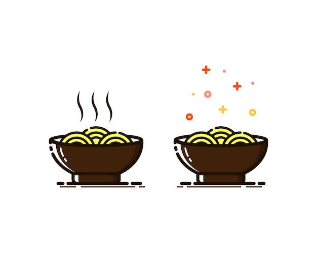 Illustration vectorielle de nouilles dans le style mbe.