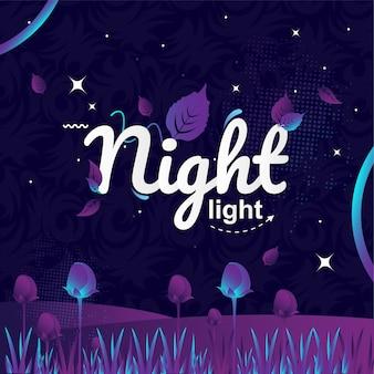 Illustration vectorielle de nuit lumière typographie