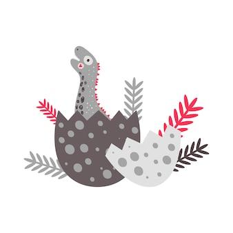 Illustration vectorielle nursery cute print avec dinosaure diplodocus. bon anniversaire. hachure d'un oeuf pour les t-shirts, les affiches, les banderoles et les cartes de souhaits des enfants.