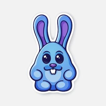 Illustration vectorielle oeuf de lapin de pâques mignon lapin symbole d'ester sticker