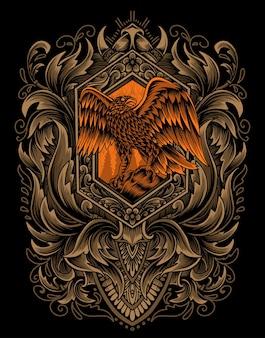 Illustration vectorielle oiseau aigle avec ornement de gravure vintage.