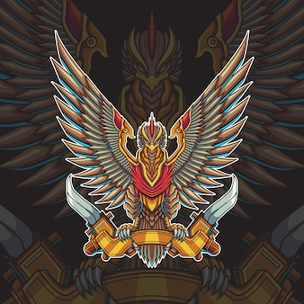 Illustration vectorielle d'oiseau mecha