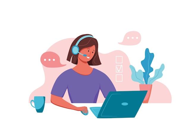 Illustration vectorielle d'opérateur de centre d'appels femme gestionnaire de support en ligne client travaillant