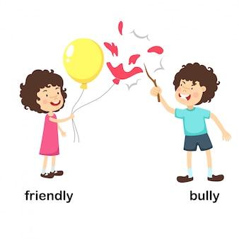 Illustration vectorielle opposée amicale et intimider