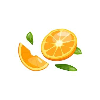 Illustration vectorielle d'une orange coupée source de vitamine c