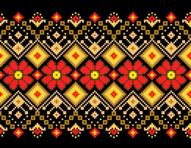 Illustration vectorielle de l'ornement de motifs sans fin folkloriques ukrainiens. ornement ethnique. élément de bordure. traditionnel ukrainien, motif de broderie tricotée artisanale biélorusse - vyshyvanka