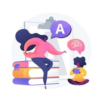 Illustration vectorielle d'orthophonie concept abstrait. thérapie d'orthophonie, amélioration du langage, retard de développement, traitement des troubles de la parole, exercice de la langue à la maison métaphore abstraite.