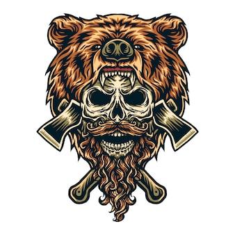 Illustration vectorielle d'ours bûcheron