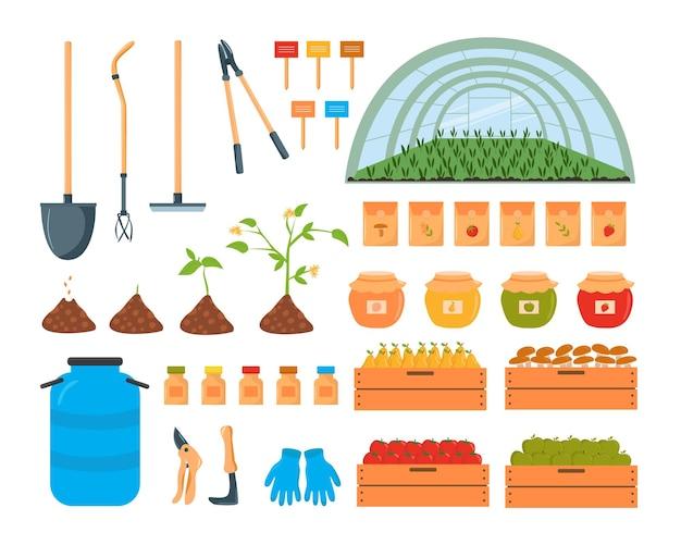 Illustration vectorielle d'outils de jardin dans un style plat branché isolé sur fond blanc