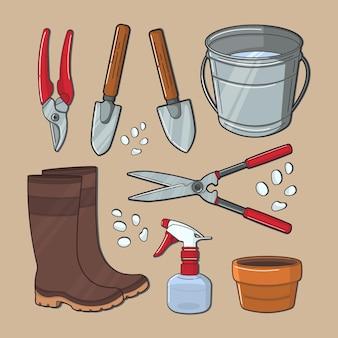 Illustration vectorielle d'outils pour le jardinage