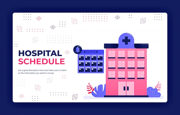 Illustration vectorielle de page de destination de la planification des traitements hospitaliers