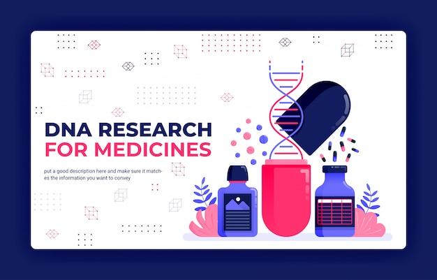 Illustration vectorielle de page de destination de la recherche d'adn pour les médicaments.