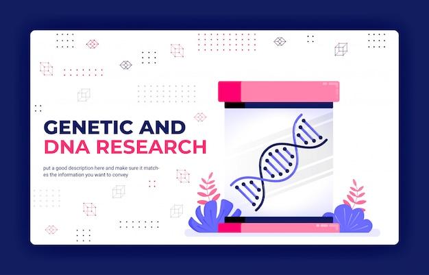 Illustration vectorielle de page de destination de la recherche génétique et adn pour l'apprentissage médical et le développement de médicaments.