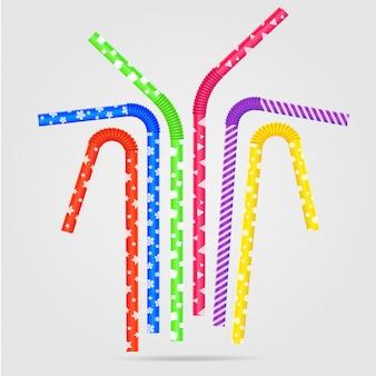 Illustration vectorielle avec des pailles de couleur et différents. pailles à boire avec une texture plastique en vase clos.