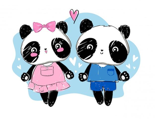 Illustration vectorielle de panda amour couple