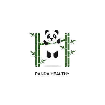 Illustration vectorielle panda logo en bonne santé
