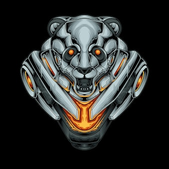 Illustration vectorielle de panda mecha