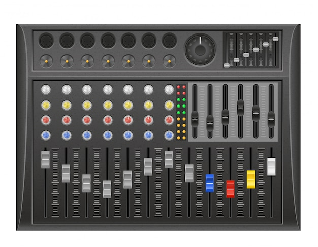 Illustration vectorielle de panneau console son mixeur