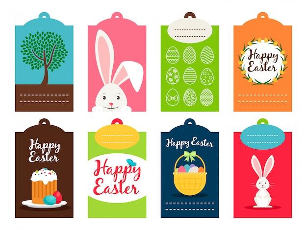 Illustration vectorielle de pâques tag collection. étiquettes de célébration ostern isolés