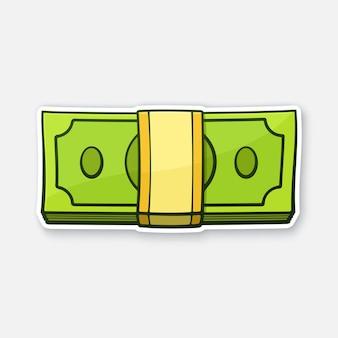 Illustration vectorielle le paquet de papier-monnaie dollars des états-unis autocollant en style cartoon