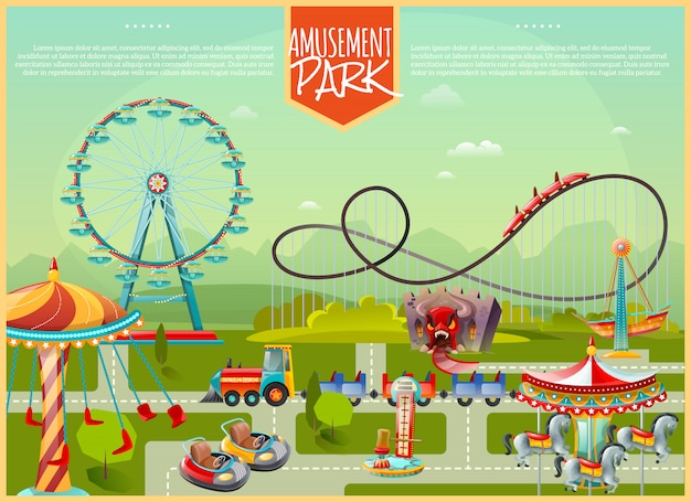 Illustration vectorielle de parc d'attractions