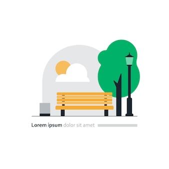 Illustration vectorielle de parc de la ville, banc jaune en carré