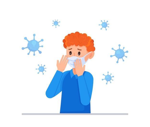 Illustration vectorielle d'un patient atteint de coronavirus. maladie pendant une pandémie. test de coronavirus. illustration de personnes qui ont contracté le virus pendant le traitement.