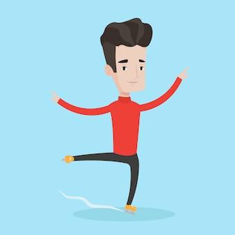 Illustration vectorielle de patineur masculin.