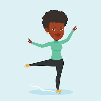 Illustration vectorielle de patineuse artistique féminine.