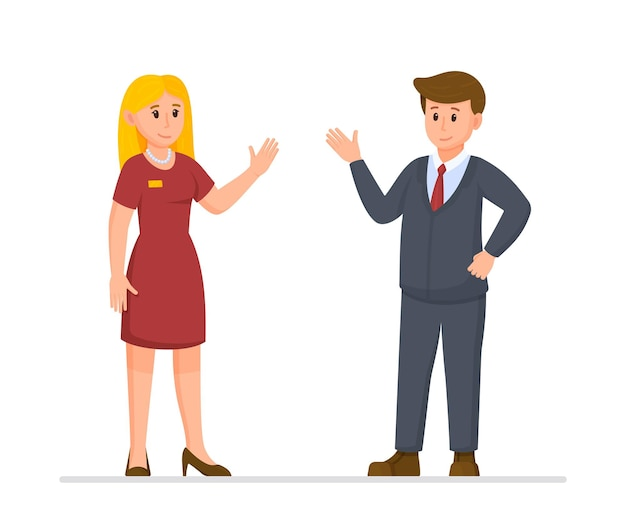 Illustration vectorielle des patrons de restaurant. le propriétaire du restaurant est venu vérifier l'état de son restaurant. le patron et le gérant du restaurant sont debout et discutent.