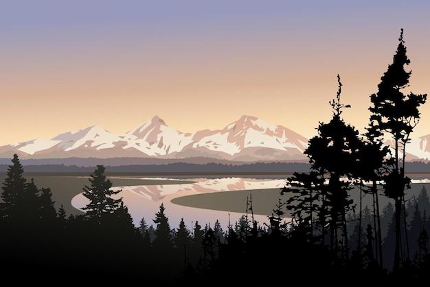 Illustration vectorielle de paysage belle nature grande rivière sinueuse montagnes lointaines et forêt