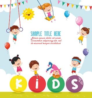 Illustration vectorielle de paysage coloré d'enfants